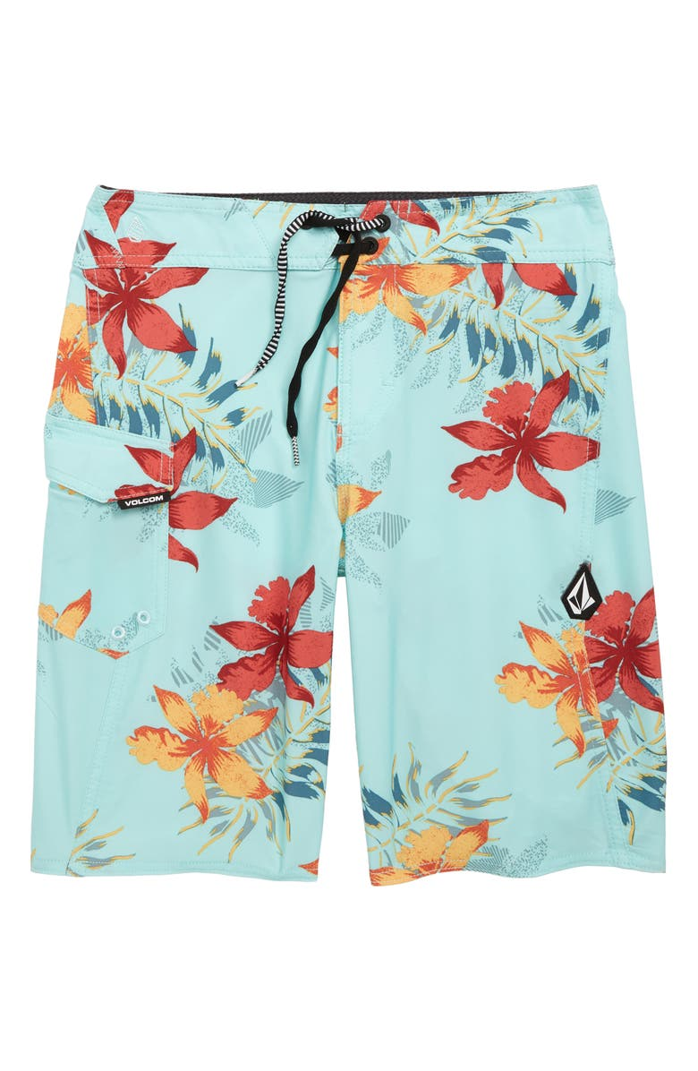 VOLCOM Wave Fayer Mod Board Shorts, Main, color, SEAGLASS