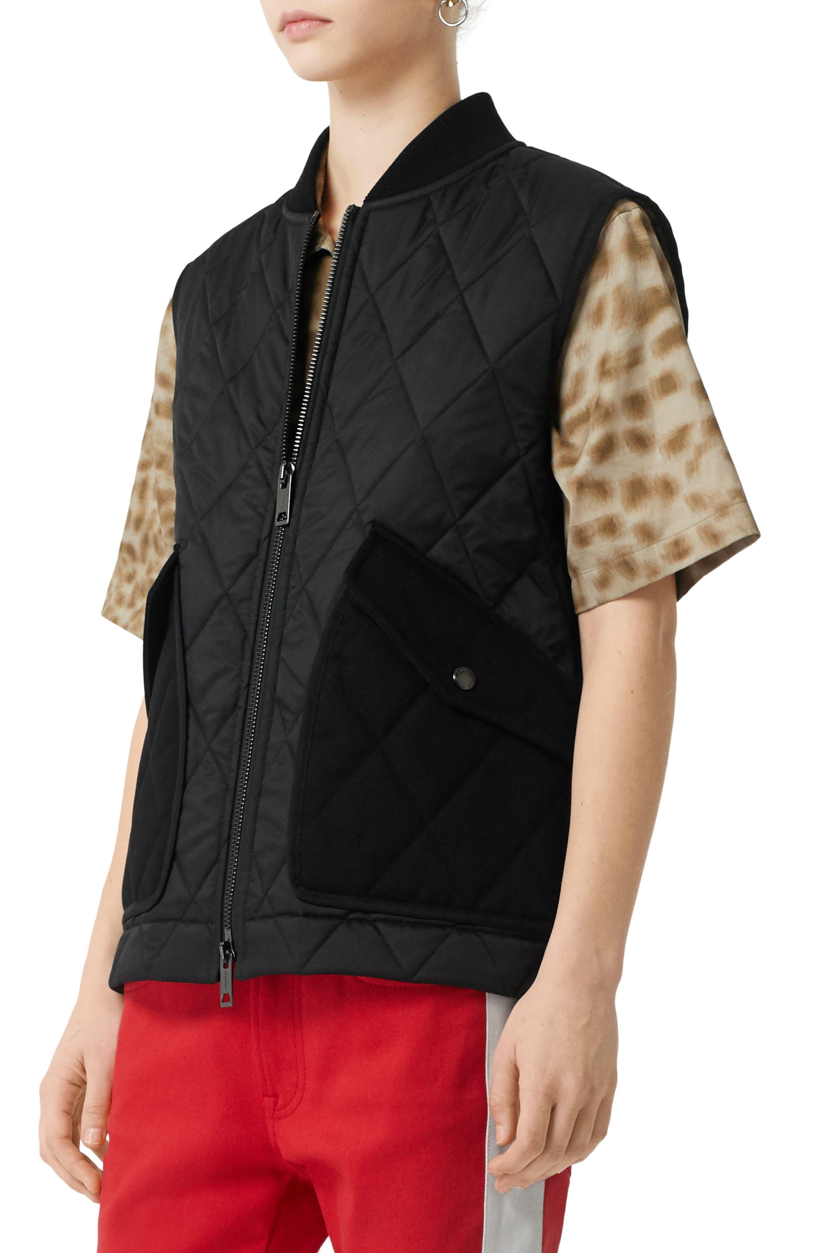 Burberry Coats Shipton Monogram Logo Quilted Vest