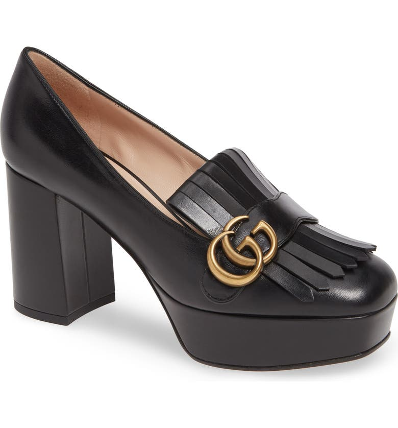 GUCCI Marmont Kiltie Fringe Platform Pump, Main, color, BLACK