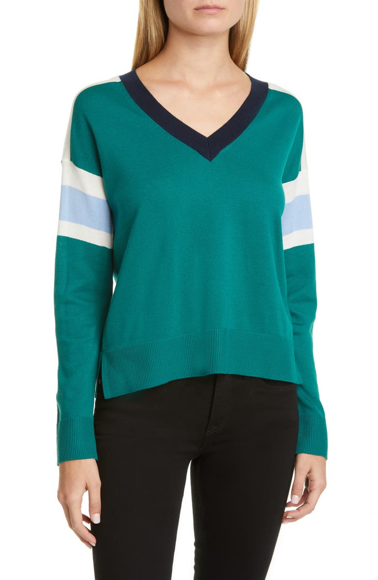 AKRIS PUNTO Stripe V-Neck Merino Wool Sweater, Main, color, SPRUCE/ SKY BLUE/ NIGHT