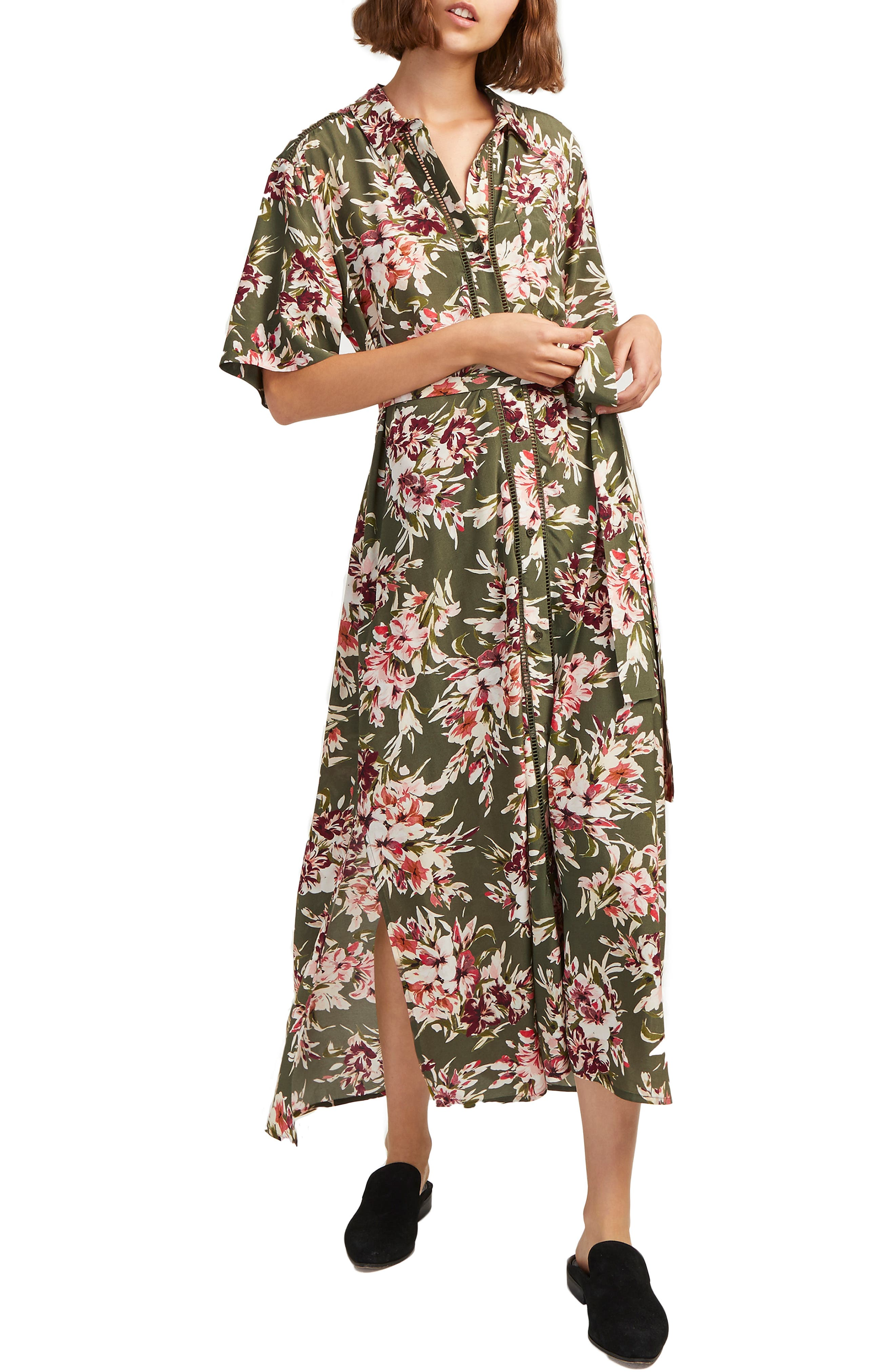 French Connection Floriana Drape Maxi Dress, Green