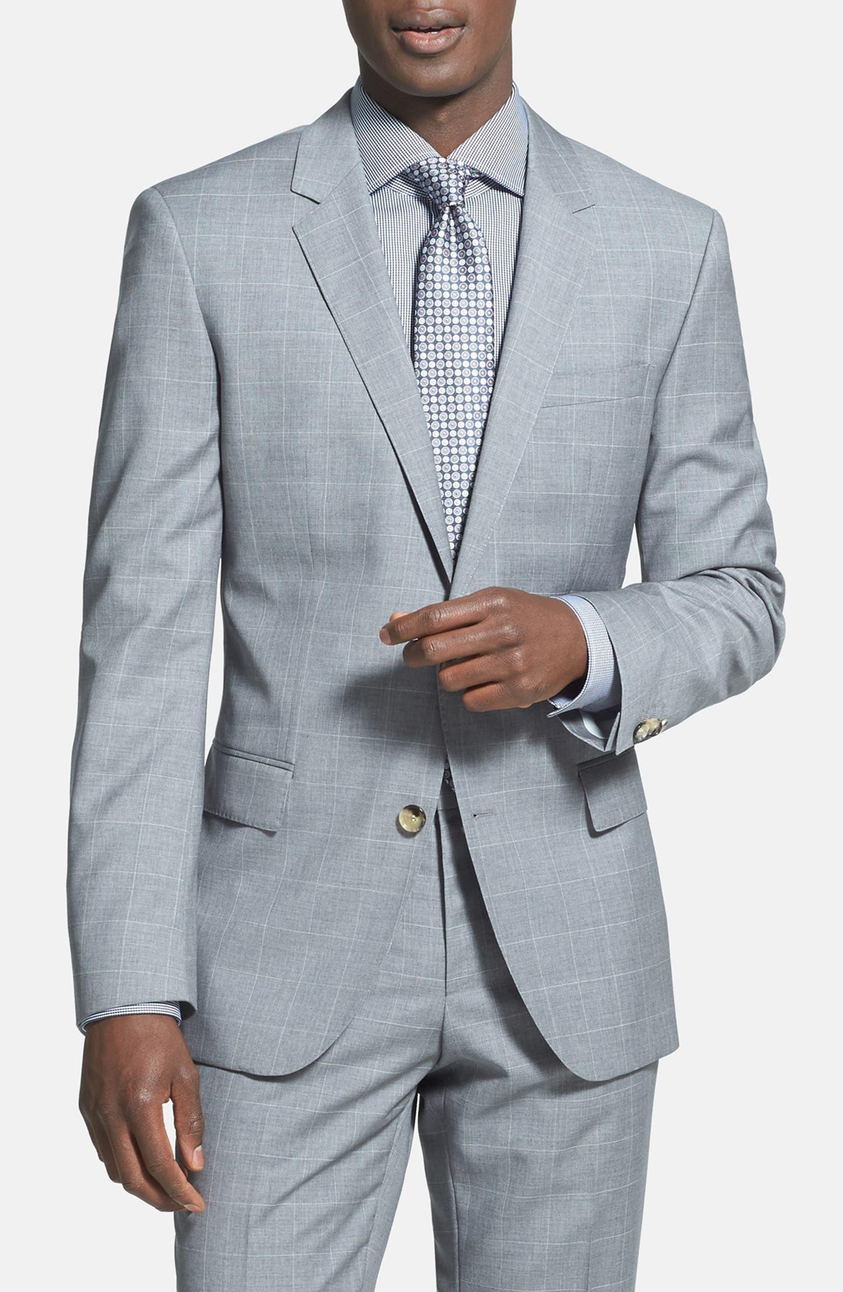 74fb5652 BOSS HUGO BOSS 'Huge/Genius' Trim Fit Windowpane Suit (Online Only)    Nordstrom