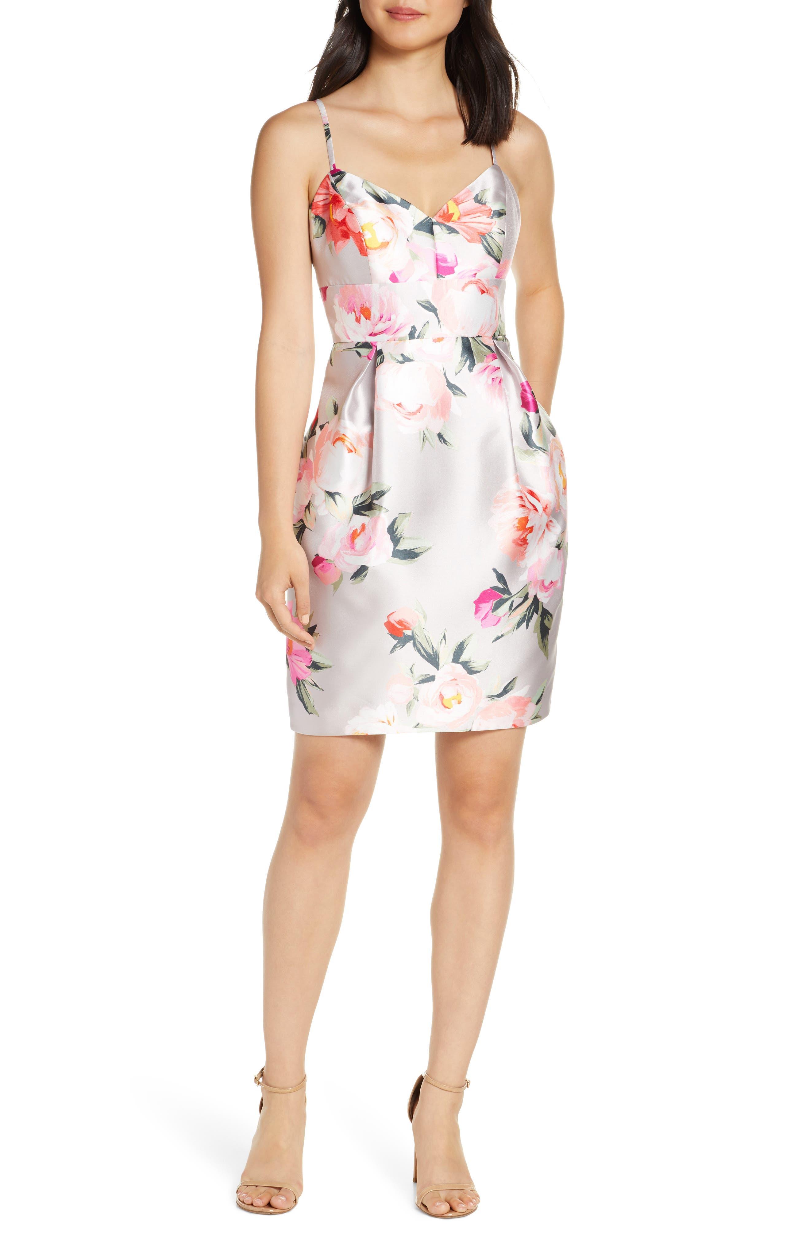 Eliza J Floral Print Cocktail Dress, Pink