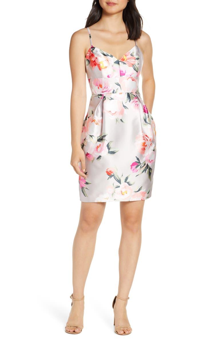 ELIZA J Floral Print Cocktail Dress, Main, color, PINK MULTI