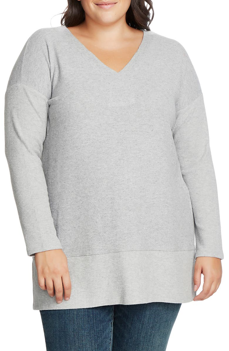 VINCE CAMUTO Ribbed Sleeve V-Neck Tunic Sweater, Main, color, SILVER HEATHER