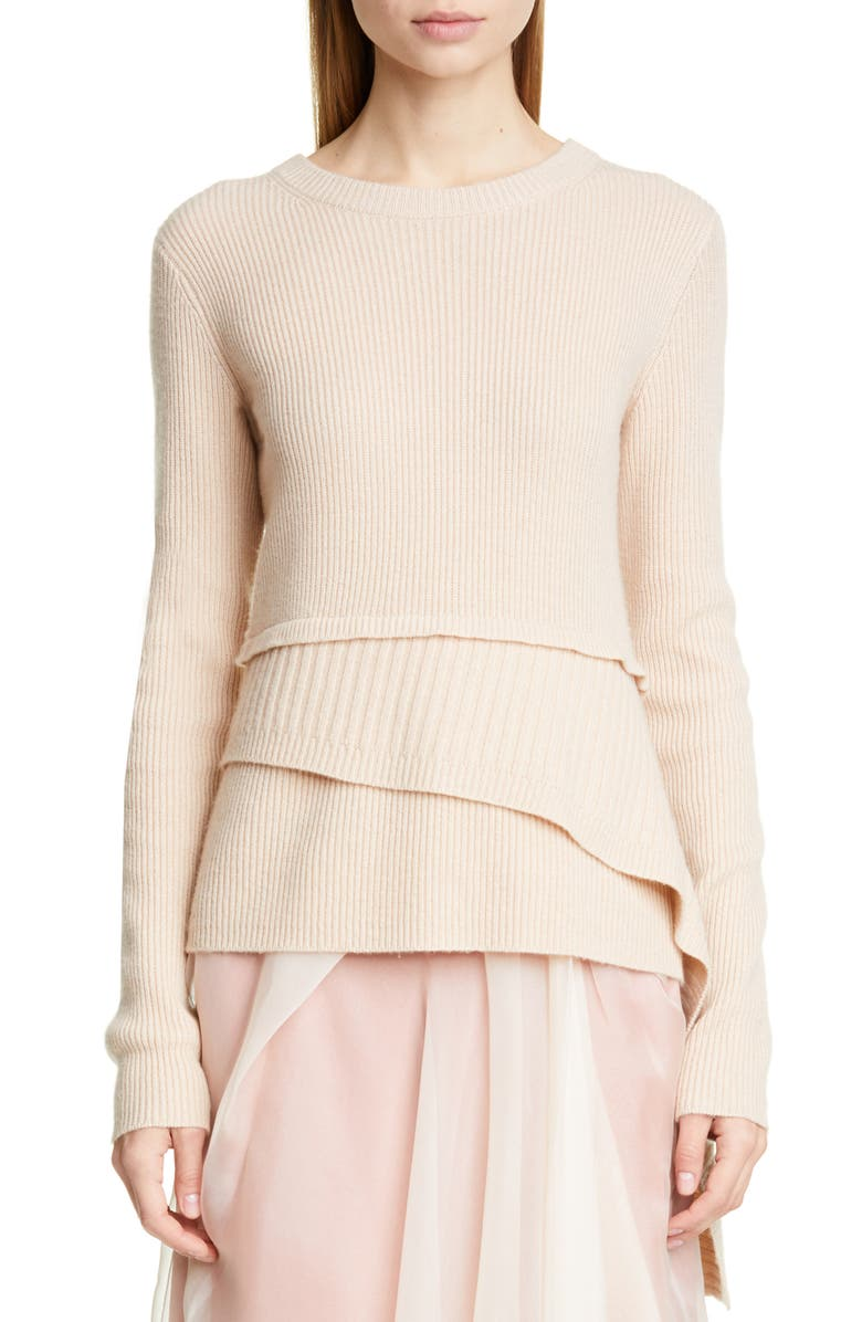 SIES MARJAN Tiered Wool & Cashmere Sweater, Main, color, FOUNDATION