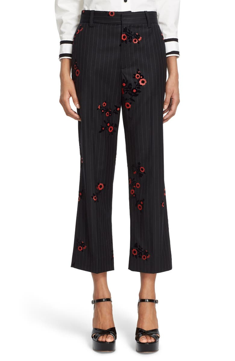 MARC JACOBS Floral & Pinstripe Crop Flare Wool Pants, Main, color, 485
