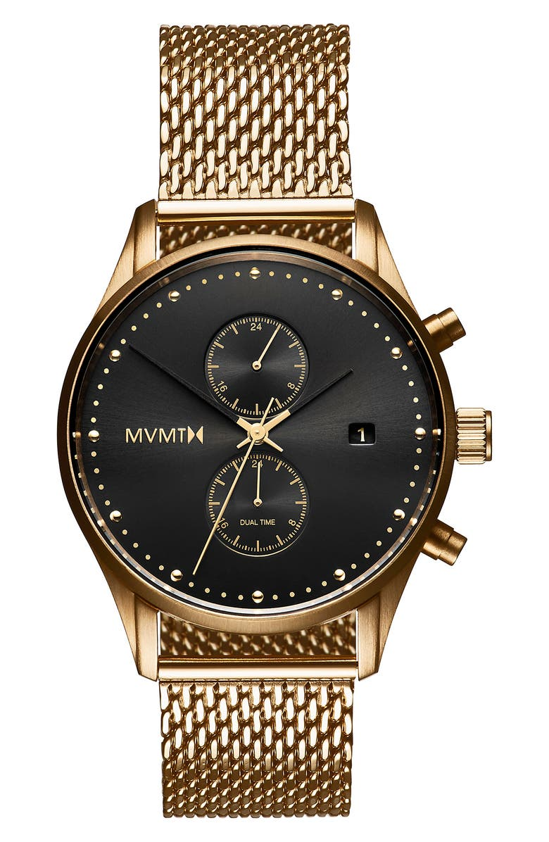 MVMT Voyager Mesh Strap Watch, 42mm, Main, color, GOLD/ BLACK/ GOLD