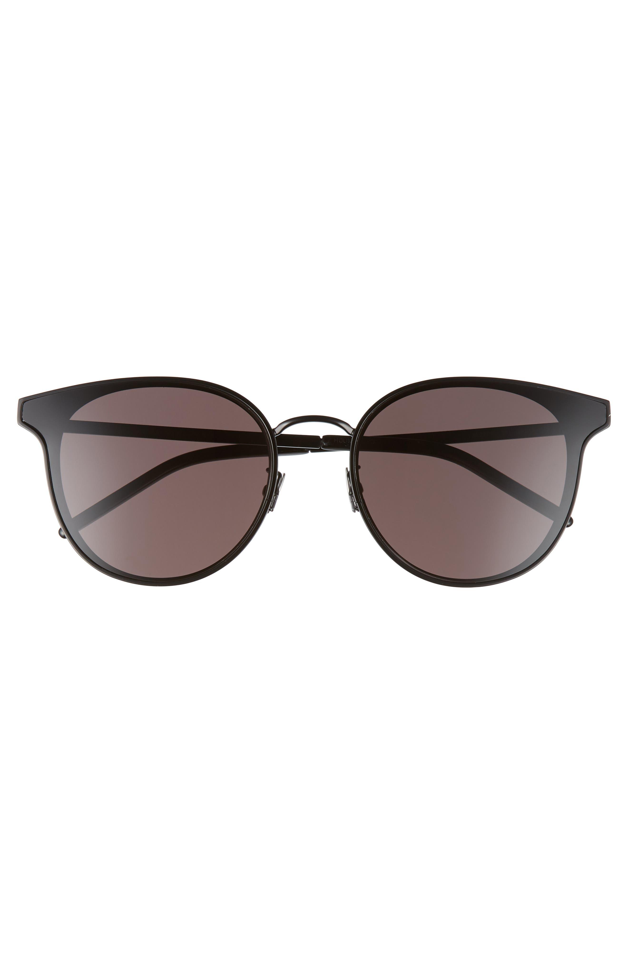 ,                             64mm Oversize Flat Front Round Sunglasses,                             Alternate thumbnail 3, color,                             BLACK/ BLACK