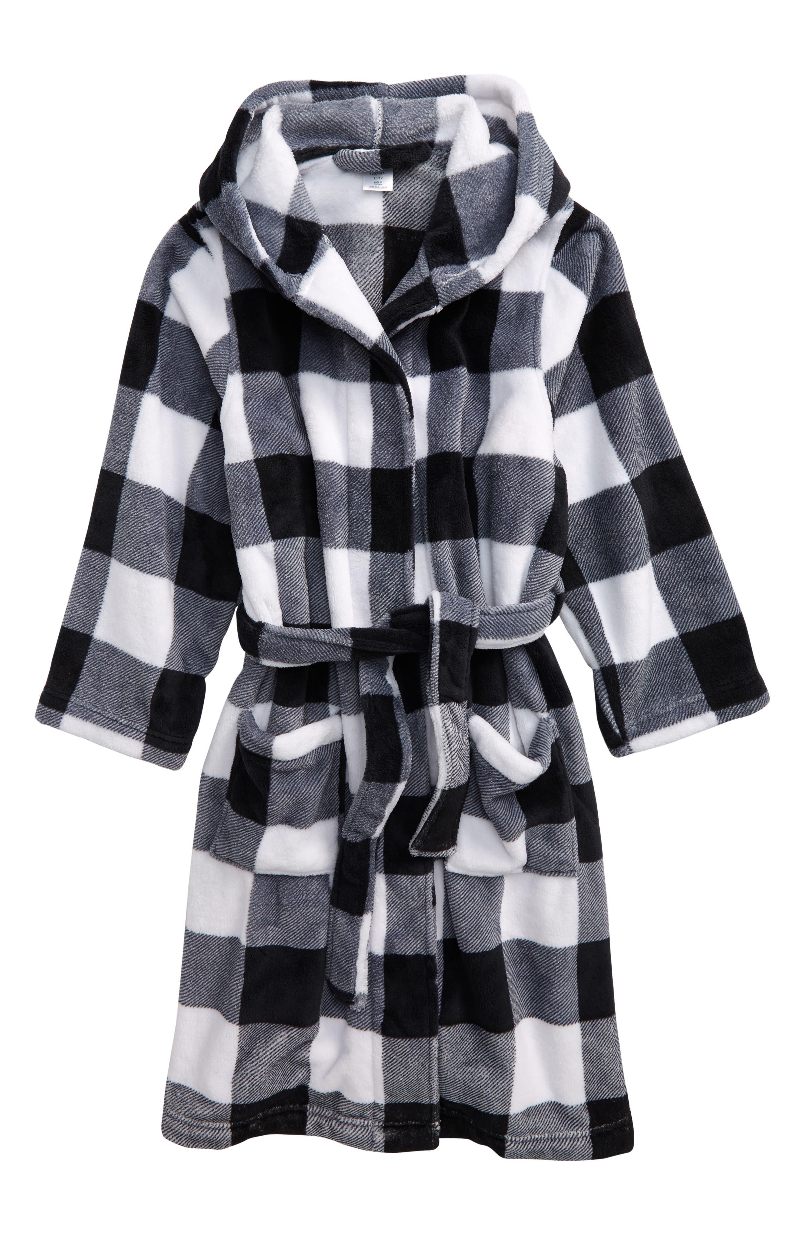 Boys Tucker  Tate Hooded Plush Robe Size 1416  Black