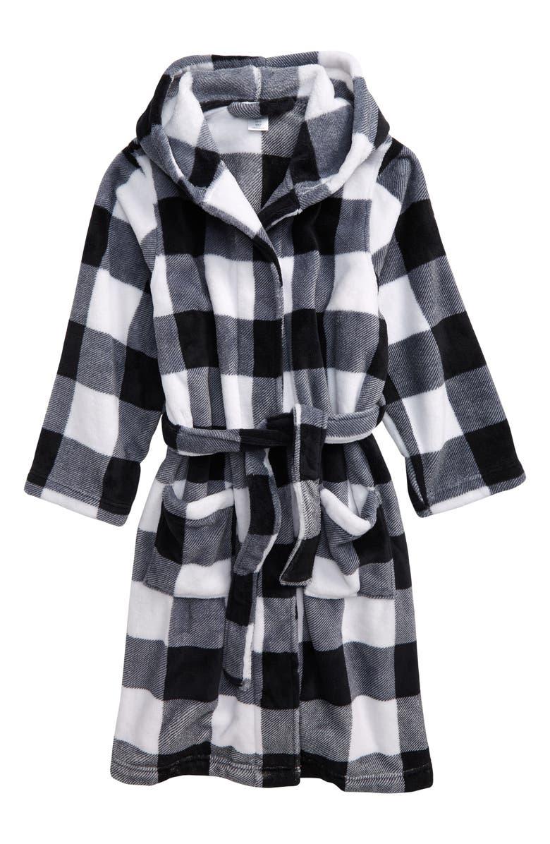 TUCKER + TATE Hooded Plush Robe, Main, color, BLACK- WHITE BUFFALO CHECK