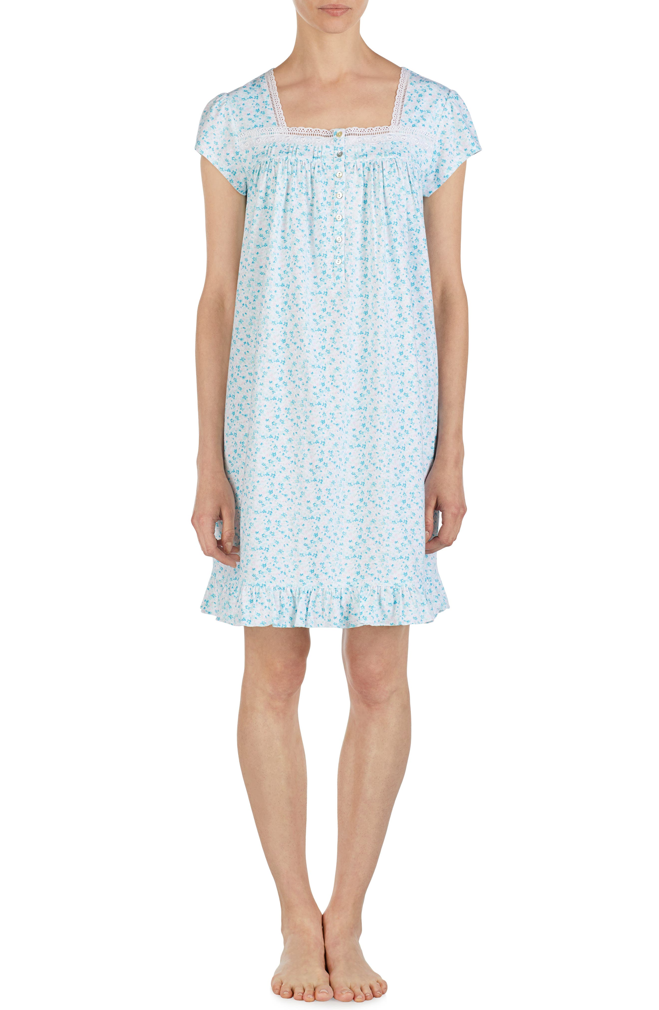 Plus Size Eileen West Short Jersey Nightgown, Blue