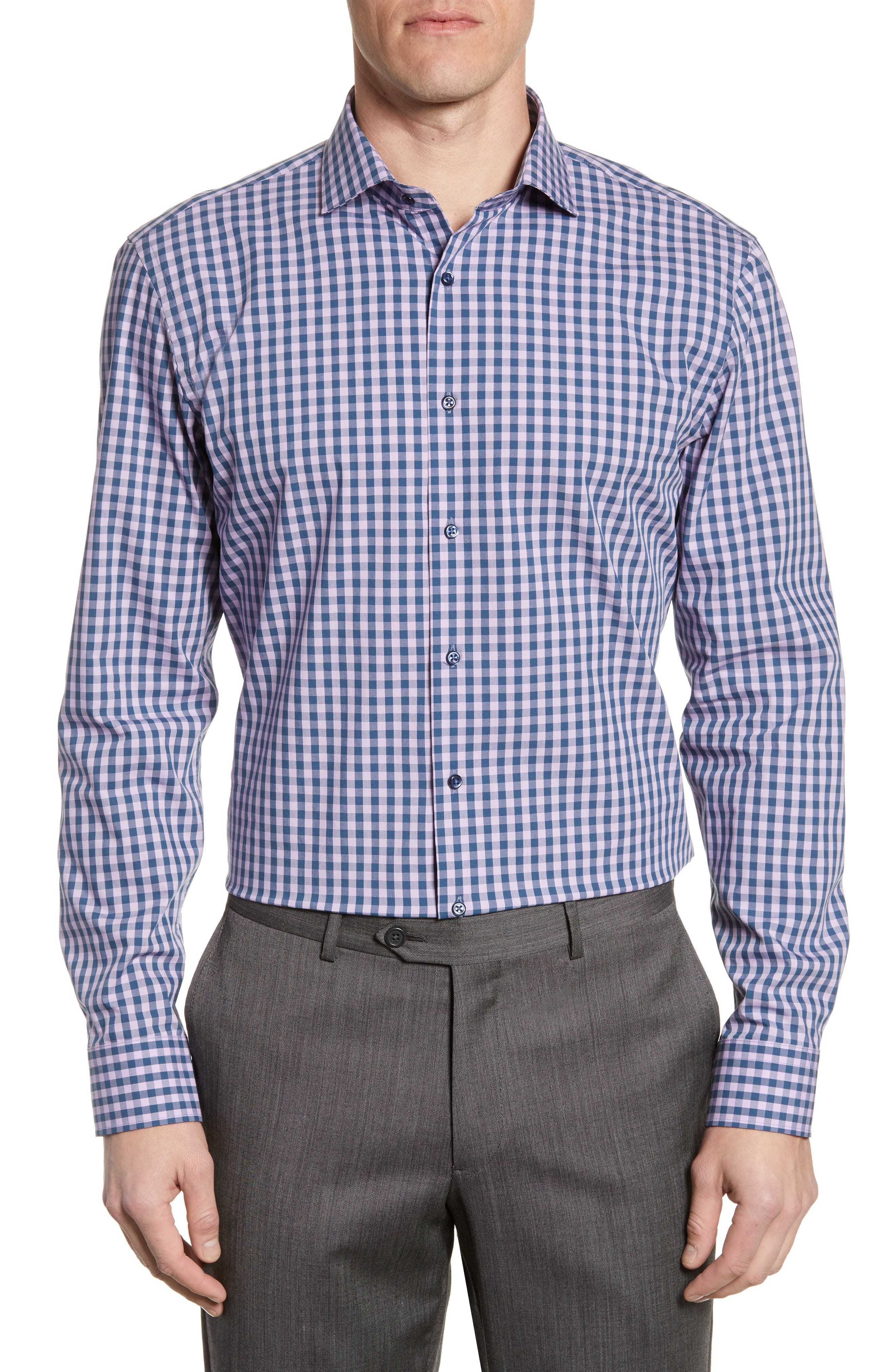 ,                             Tech-Smart Trim Fit Stretch Check Dress Shirt,                             Main thumbnail 39, color,                             510