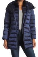 Deals on Tahari Womens Faux Fur Trim Collar Hooded Bib Puffer Jacket