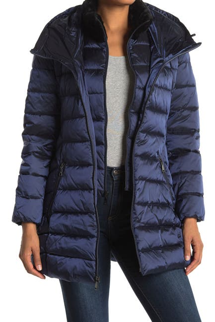 Tahari Women's Faux Fur Trim Collar Hooded Bib Puffer Jacket