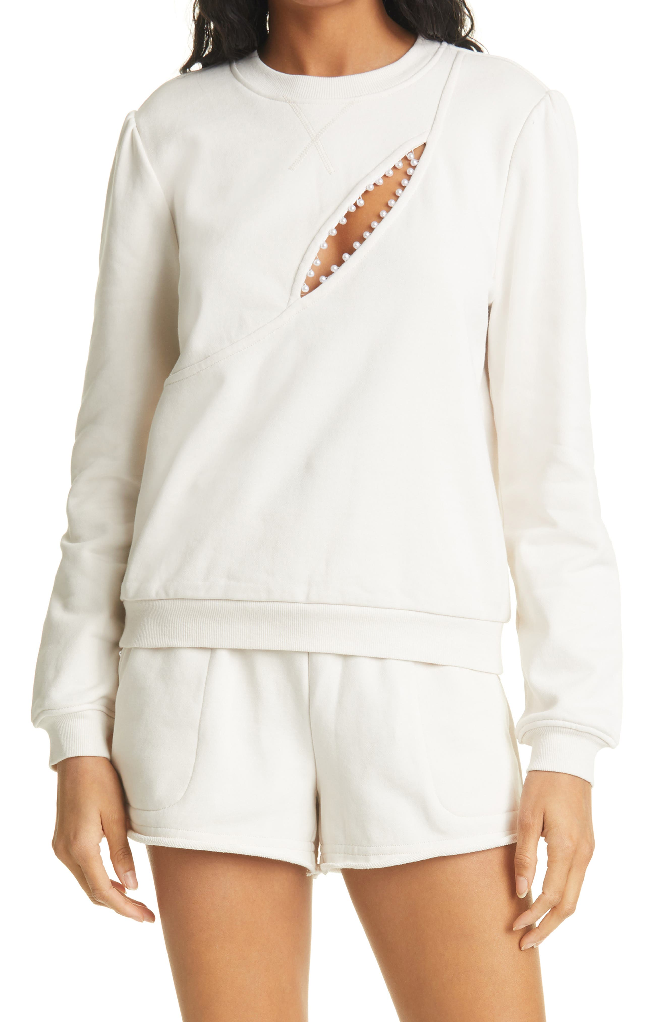 Haru Pearl Trim Cutout Sweatshirt