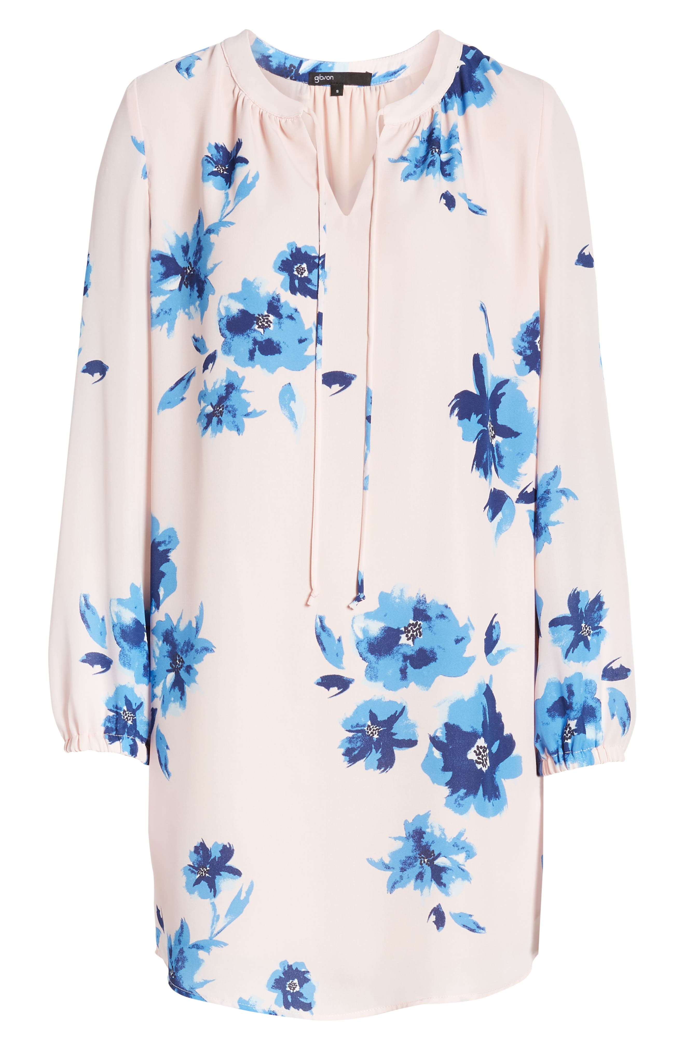 ,                             x Living in Yellow Holly Split Neck Long Sleeve Shirtdress,                             Alternate thumbnail 7, color,                             WATER FLORAL BLUSH