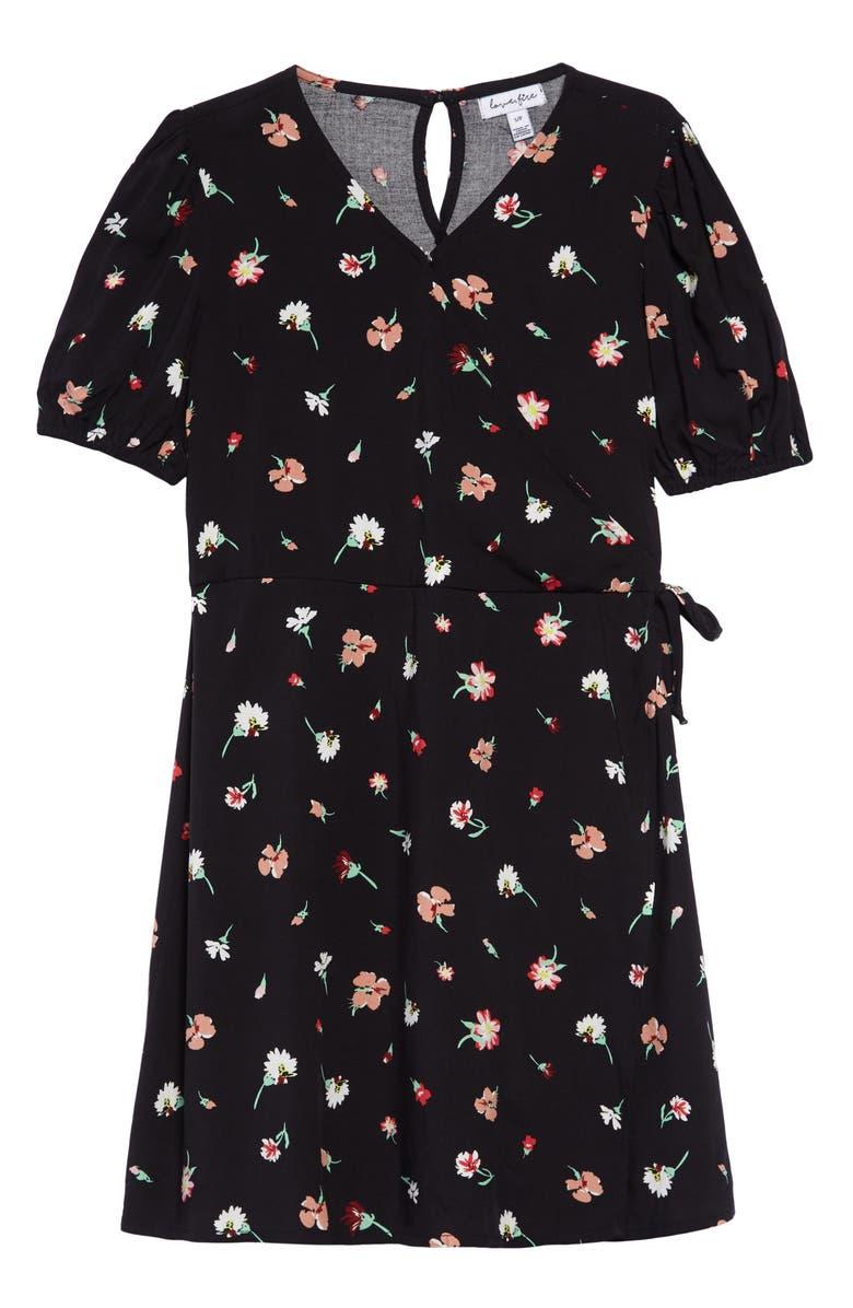 LOVE, FIRE Faux Wrap Dress, Main, color, BLACK FLORAL