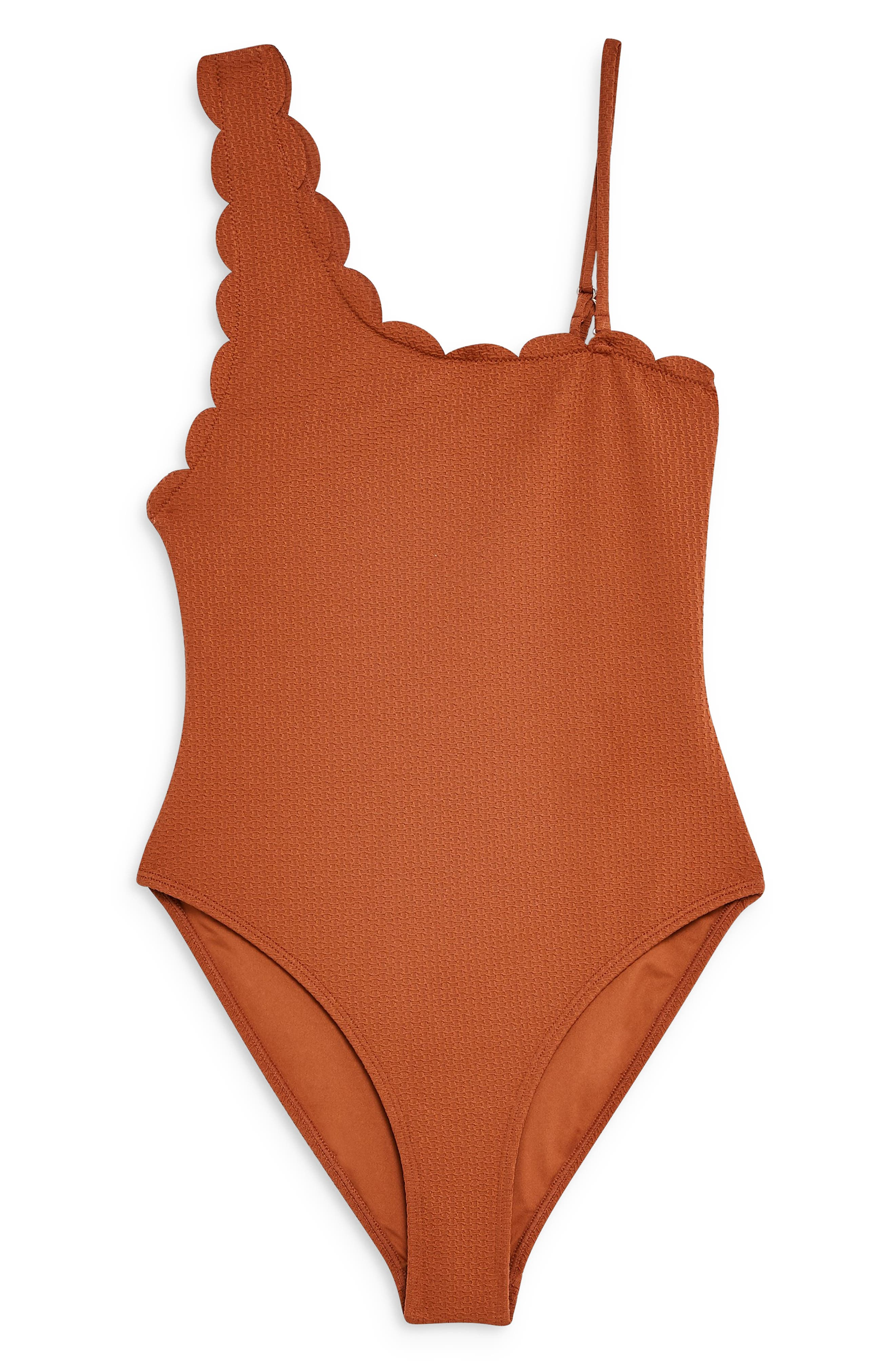 ,                             Scallop One-Shoulder One-Piece Swimsuit,                             Alternate thumbnail 3, color,                             RUST