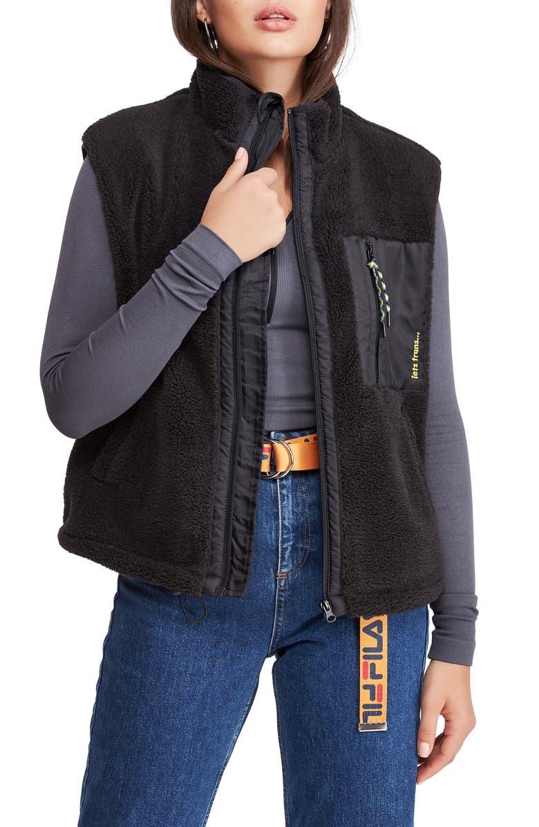 BDG Urban Outfitters Fleece Vest, Main, color, BLACK