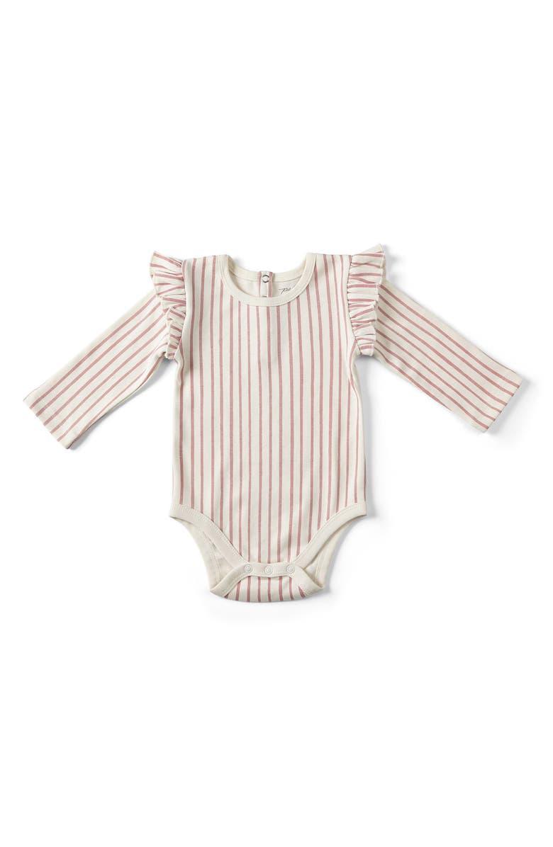 PEHR Stripes Away Ruffle Bodysuit, Main, color, PINK
