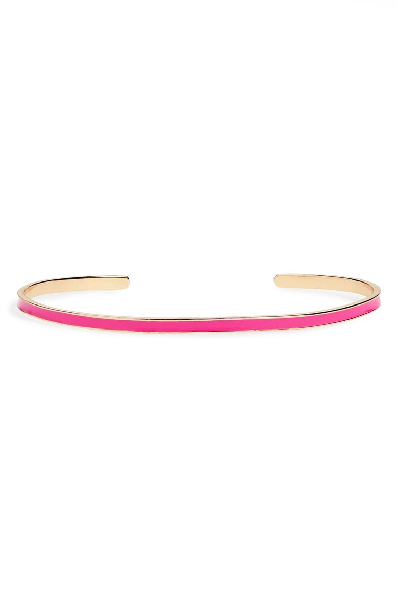 ARGENTO VIVO Slim Enamel Cuff Bracelet, Main, color, GOLD/ HOT PINK