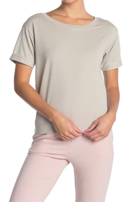 Image of Joe's Jeans Cuffed Sleeve Boatneck T-Shirt