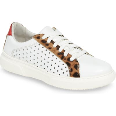 Johnston & Murphy Nora Perforated Genuine Calf Hair Sneaker, White