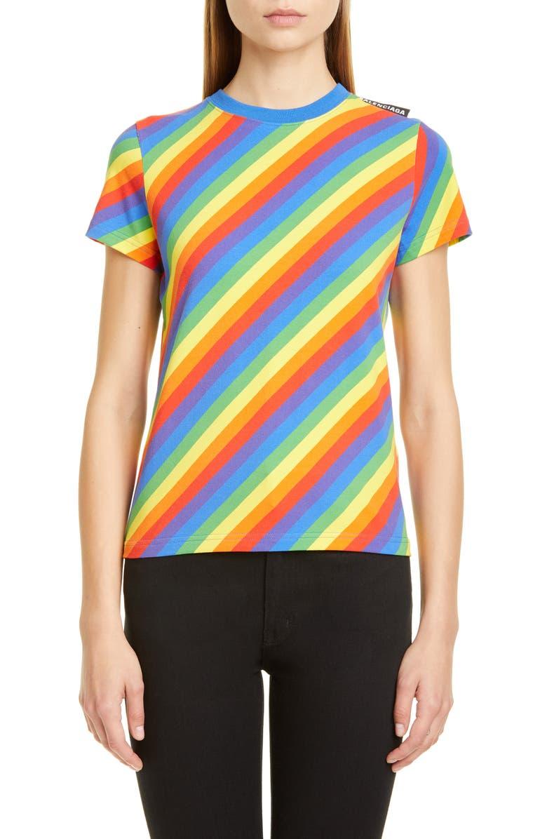 BALENCIAGA Rainbow Stripe Jersey Tee, Main, color, 700