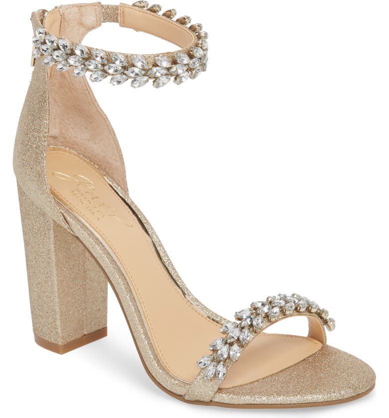 JEWEL BADGLEY MISCHKA Jewel by Badgley Mischka Mayra Embellished Ankle Strap Sandal, Main, color, LIGHT GOLD GLITTER FABRIC