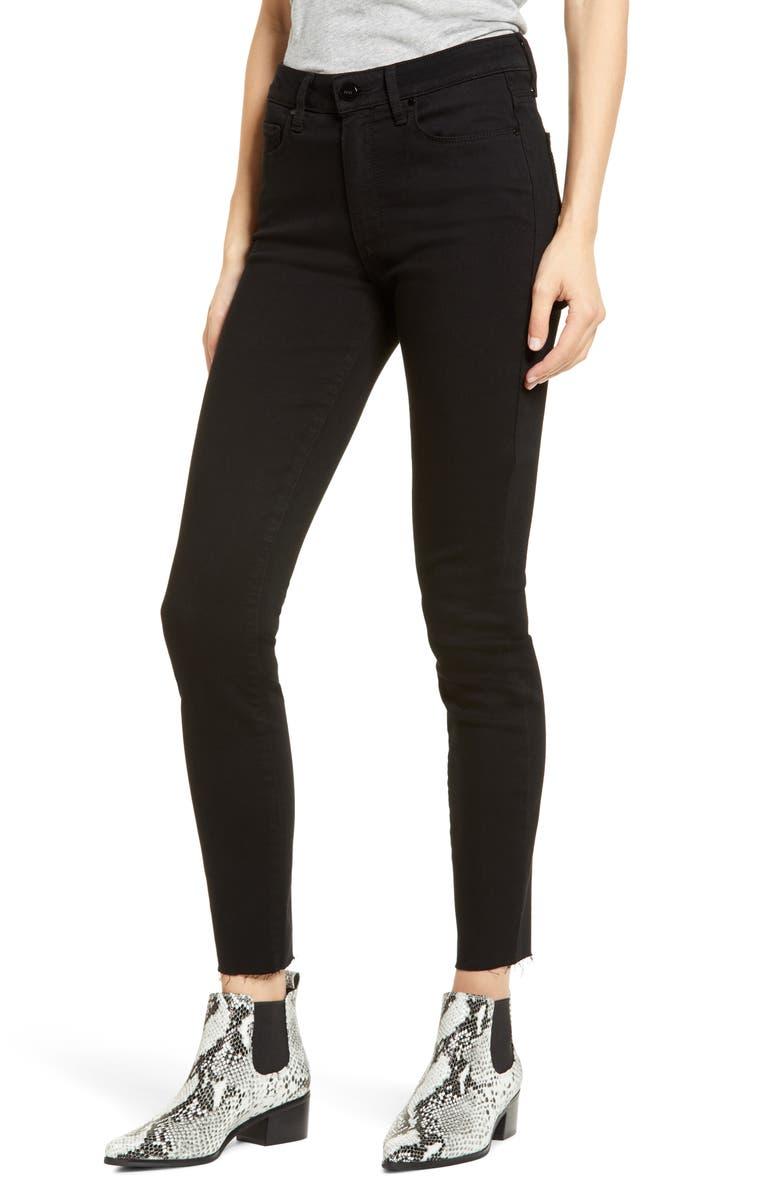 PAIGE Hoxton Raw Hem Ankle Jeans, Main, color, DARK NIGHT NOIR