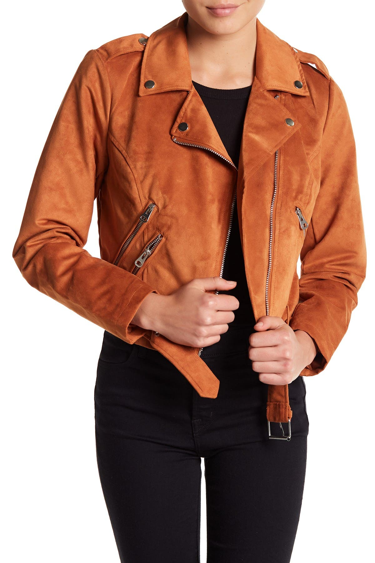 Image of Sebby Faux Suede Moto Jacket