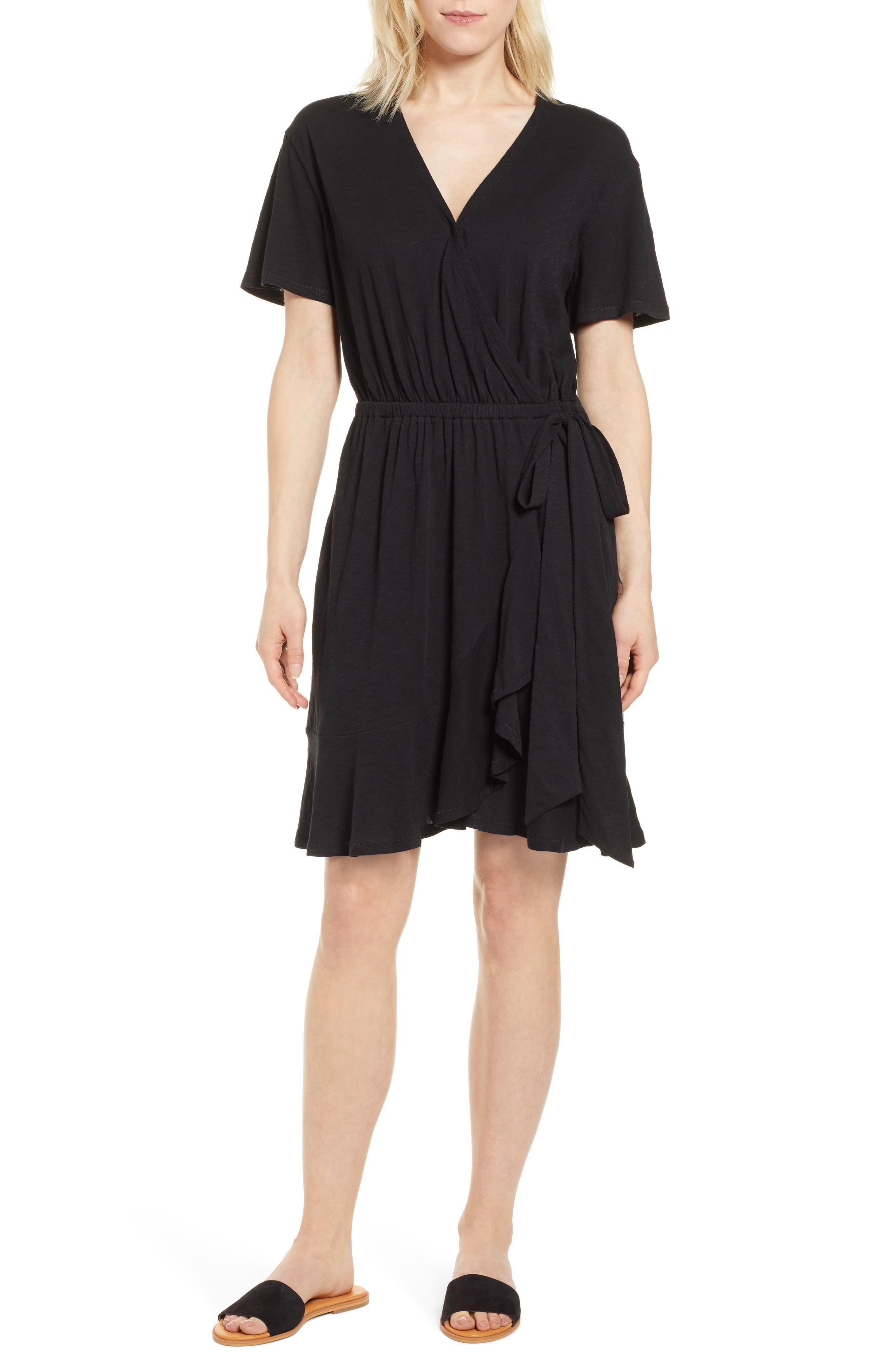 Petite Caslon Asymmetrical Hem Faux Wrap Dress, Black
