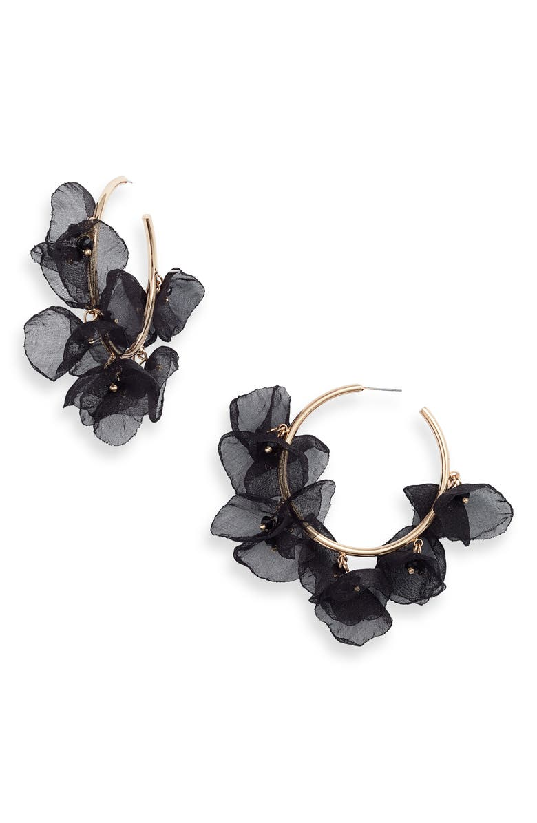 STELLA + RUBY Chiffon Petal Hoop Earrings, Main, color, GOLD-BLACK