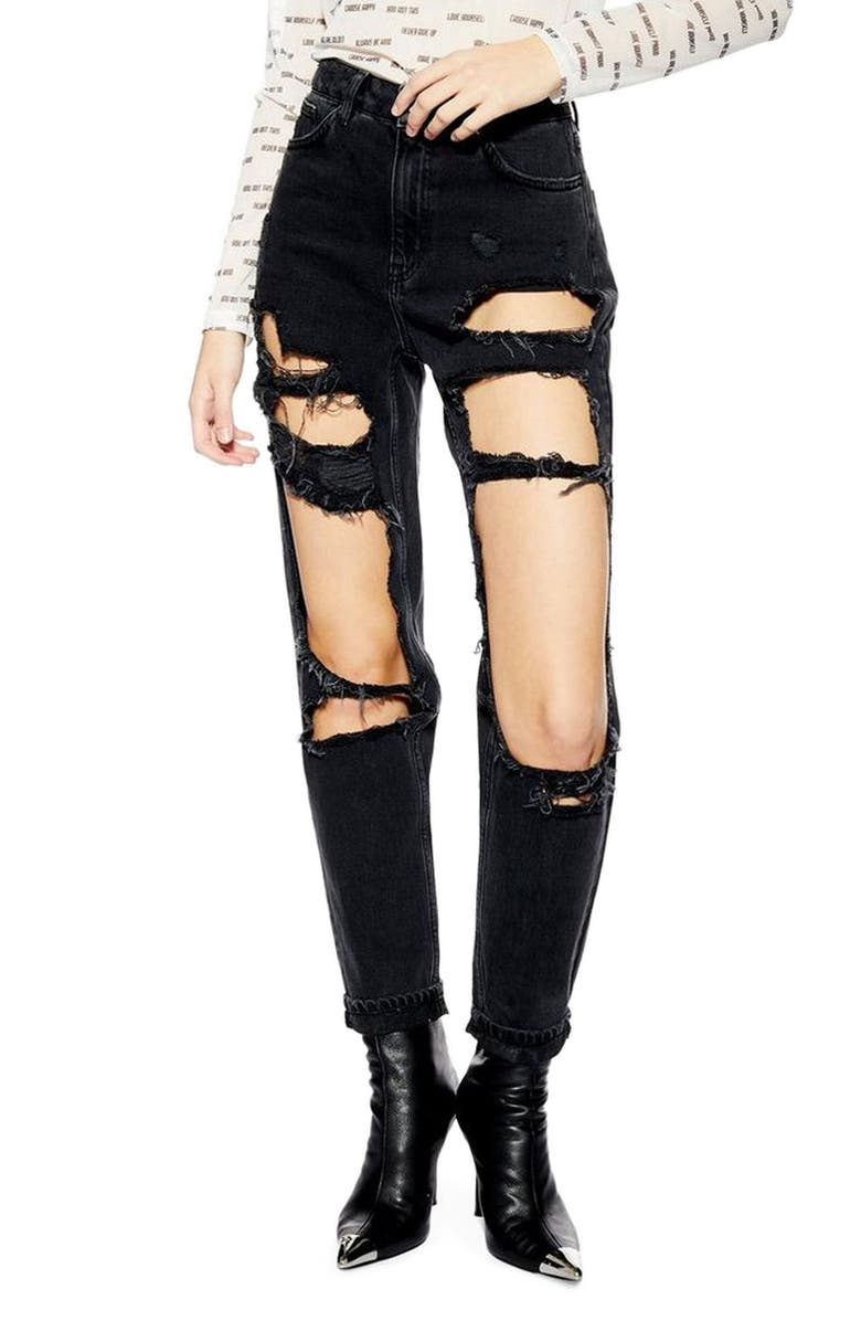 TOPSHOP Moto Window Ripped High Waist Mom Jeans, Main, color, WASHED BLACK