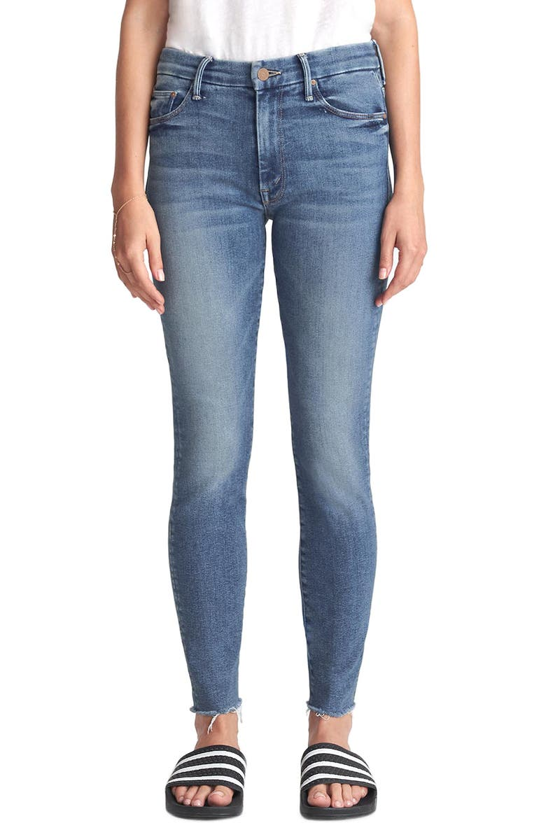 MOTHER The Looker High Waist Frayed Ankle Skinny Jeans, Main, color, HOP ON HOP OFF