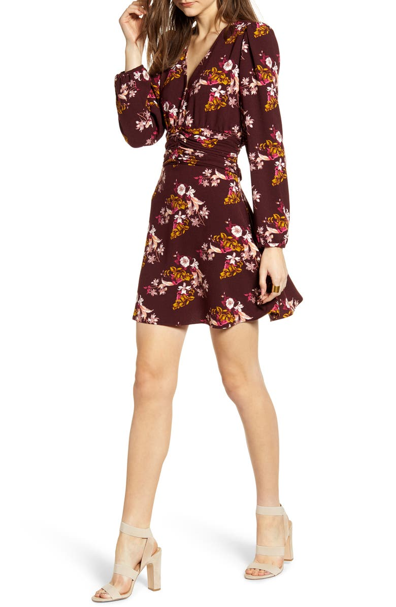 CHELSEA28 Ruched Waist Minidress, Main, color, BURGUNDY STEM JESSICA FLORAL
