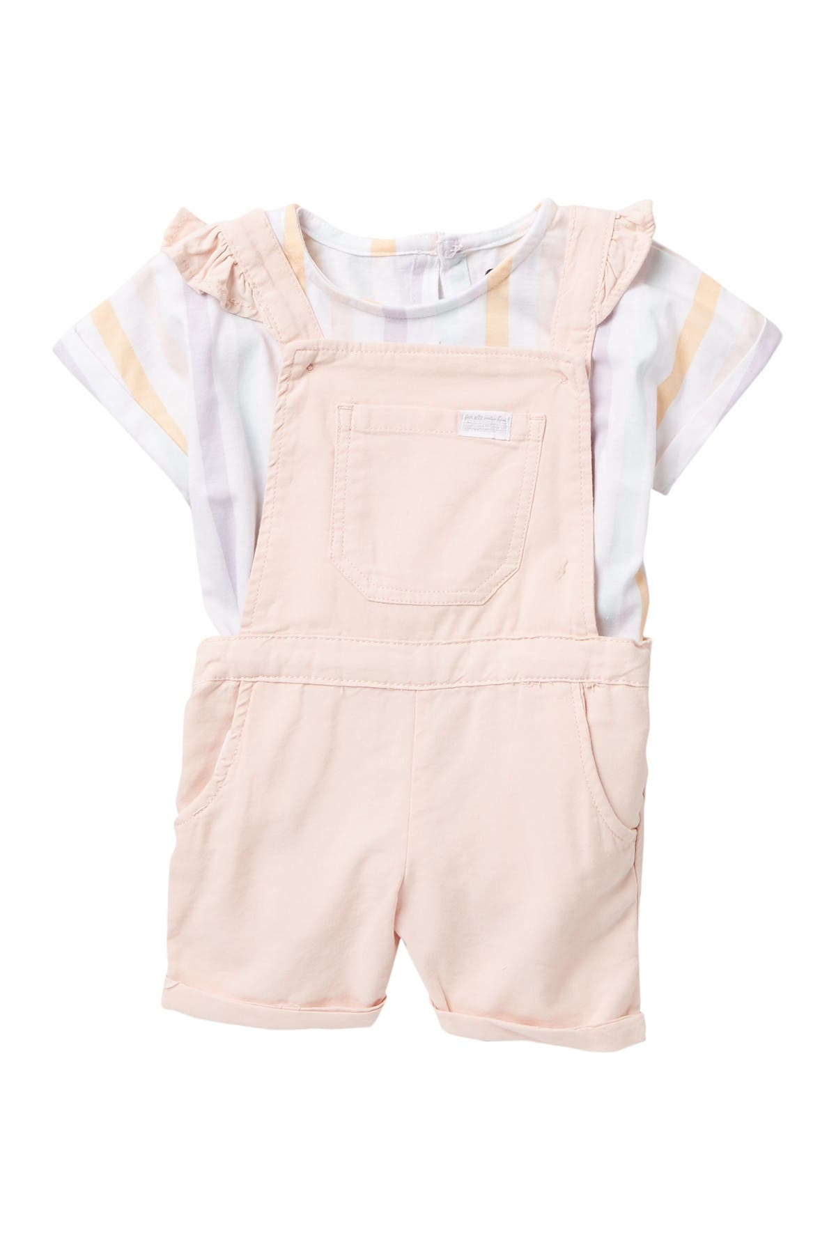 Image of 7 For All Mankind Ruffle Shortall & Striped Top Set