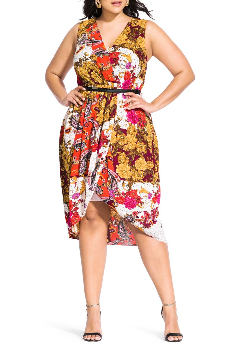 CITY CHIC Opulence Fit & Flare Dress, Main, color, OPULENCE