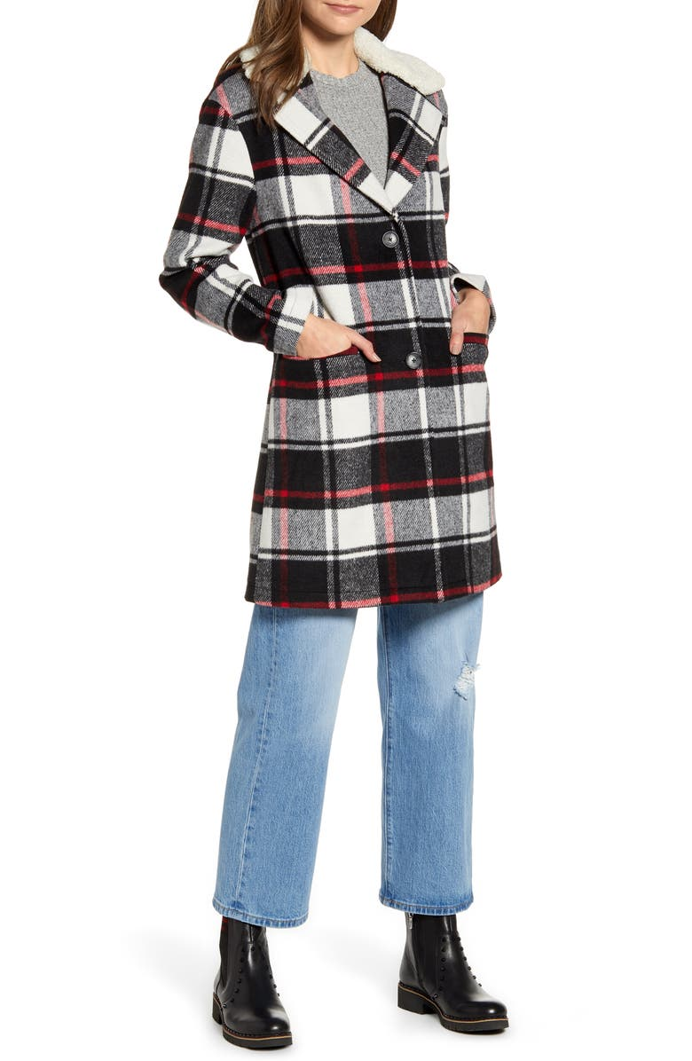 LEVI'S<SUP>®</SUP> Wool Top Coat with Faux Shearling Collar, Main, color, BLACK RED PLAID