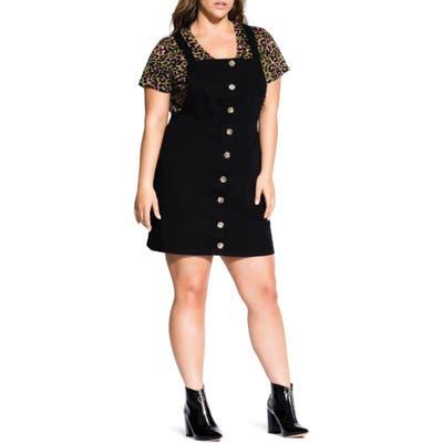 Plus Size City Chic Denim Overall Dress, Black