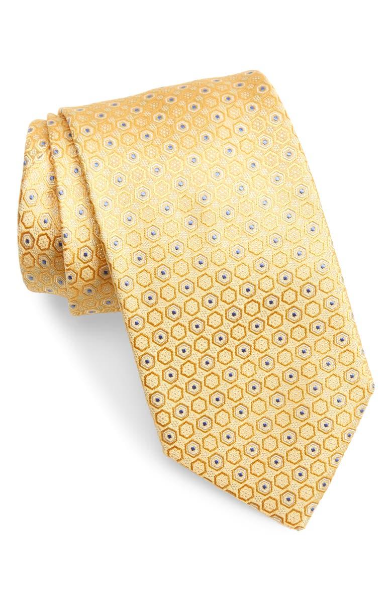 CANALI Geometric Silk Tie, Main, color, YELLOW