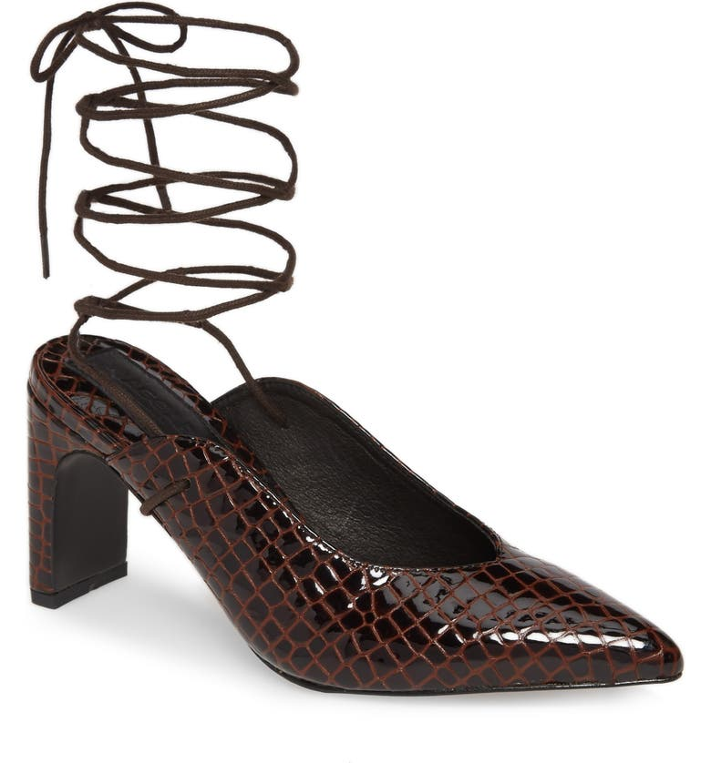 JAGGAR Pointed Toe Ankle Wrap Pump, Main, color, CHOCOLATE LEATHER