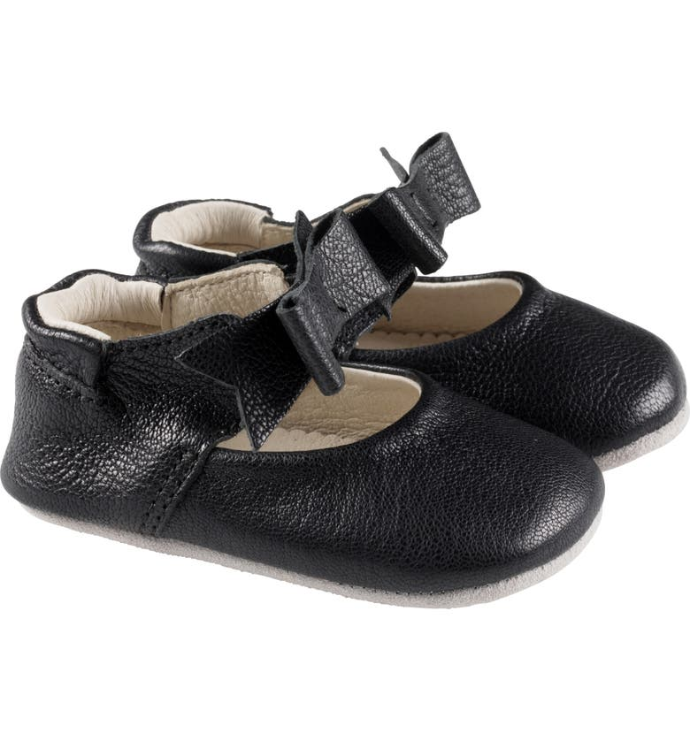 ROBEEZ<SUP>®</SUP> Sofia Bow Mary Jane Crib Shoe, Main, color, BLACK