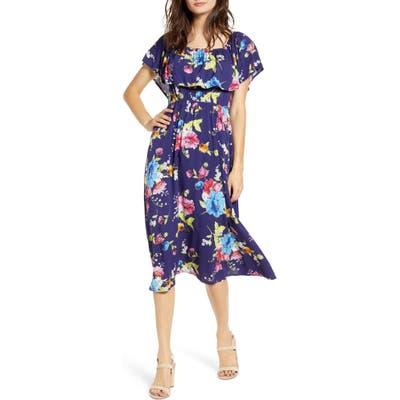 Bp. Off The Shoulder Popover Midi Dress, Blue