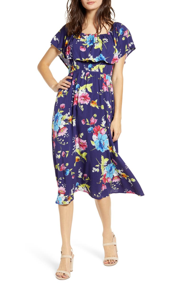 BP. Off the Shoulder Popover Midi Dress, Main, color, BLUE AQUARIUS FLORAL