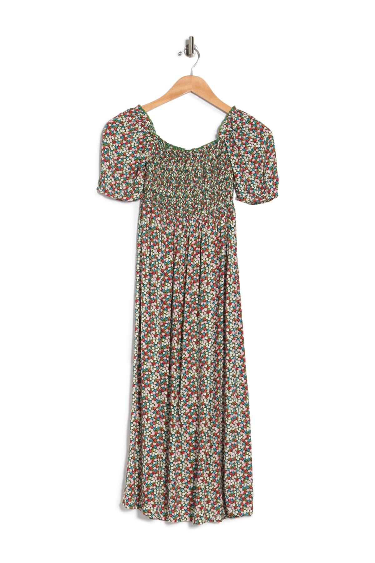 Image of Velvet Torch Puff Sleeve Smocked Floral Dress