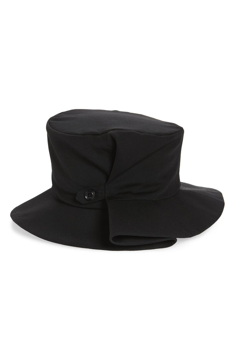 Y'S BY YOHJI YAMAMOTO Button Tab Wool Hat, Main, color, BLACK
