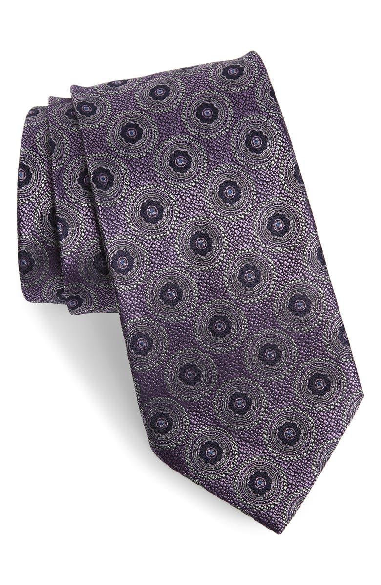 ERMENEGILDO ZEGNA Medallion Silk X-Long Tie, Main, color, PURPLE