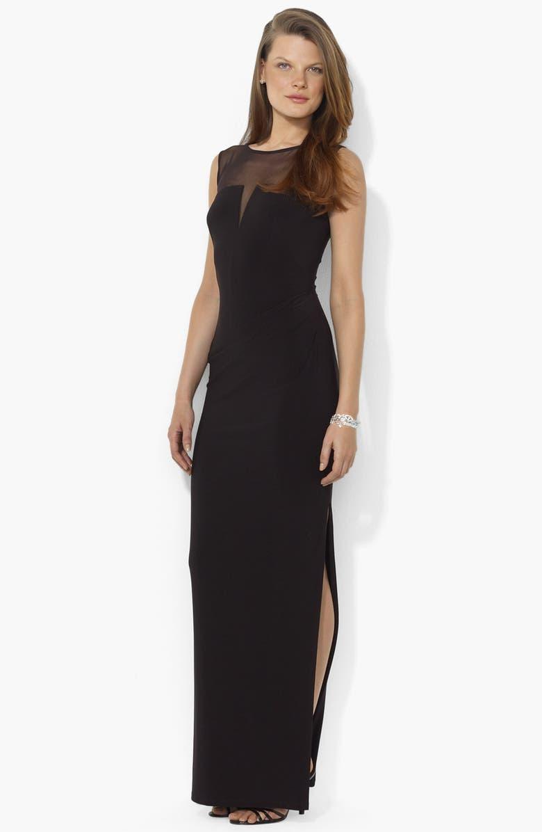 LAUREN RALPH LAUREN Illusion Yoke Matte Jersey Gown, Main, color, 001